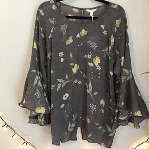 NWT LC Lauren Conrad Gray Yellow Floral Blouse